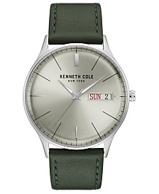 Kenneth Cole New York Men's Leather Strap with Dial with Day Date, 43MM