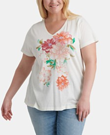 Lucky Brand Plus Size Cotton Bouquet Graphic-Print T-Shirt