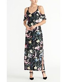 RACHEL Rachel Roy Off The Shoulder Printed Jersey Maxi Dress