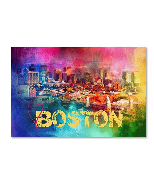 "Trademark Global Jai Johnson 'Sending Love To Boston' Canvas Art - 47"" x 30"" x 2"""