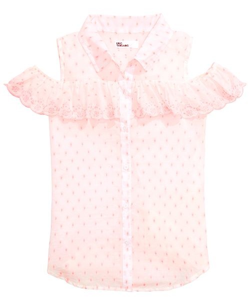 Epic Threads Big Girls Scalloped Ruffle Cold Shoulder Shirt, Created for Macy's