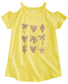 Epic Threads Big Girls Printed Cold Shoulder T-Shirt, Created for Macy's