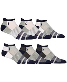 Polo Ralph Lauren 6-Pk. Athletic Double Stripe Low-Cut Socks