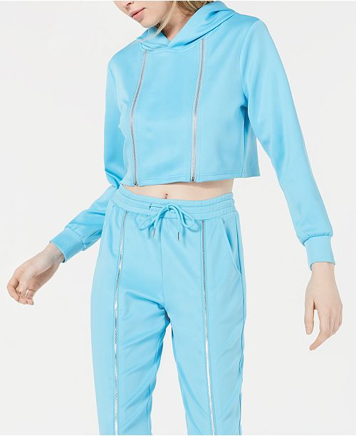 Waisted Cropped Zip-Detail Hoodie