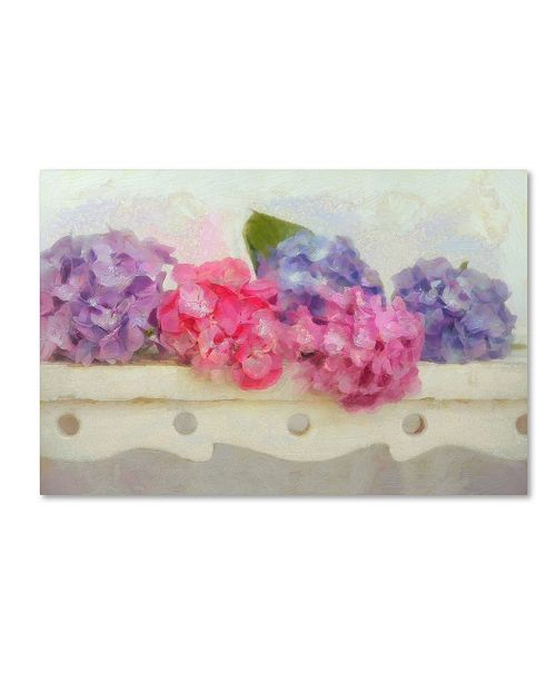 """Trademark Global Cora Niele 'Blue And Pink Hydrangea Flowers On A Bench' Canvas Art - 47"""" x 30"""" x 2"""""""