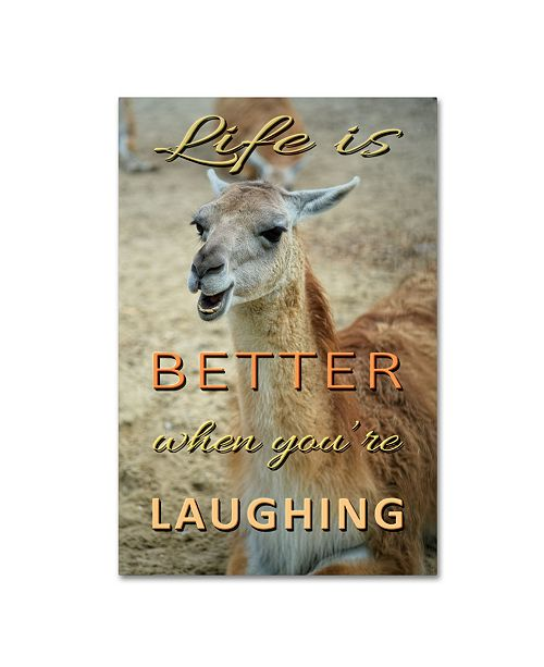 "Trademark Global Cora Niele 'Life Is Better Laughing' Canvas Art - 32"" x 22"" x 2"""