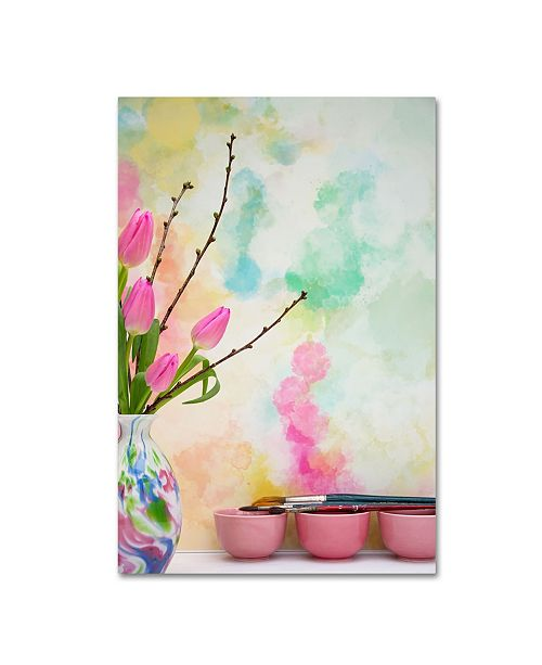 """Trademark Global Cora Niele 'Tulips And Paint Brushes' Canvas Art - 24"""" x 16"""" x 2"""""""