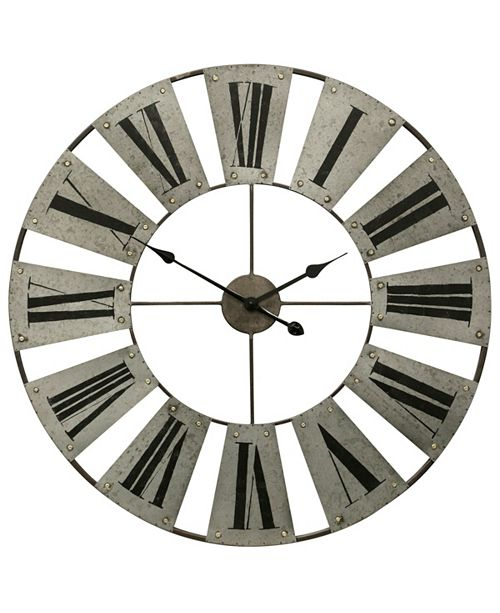 Galvanized Metal And Painted Roman Numeral Wall Clock