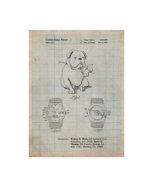 "Trademark Innovations Cole Borders 'Dog Watch Clock' Canvas Art - 47"" x 35"" x 2"""