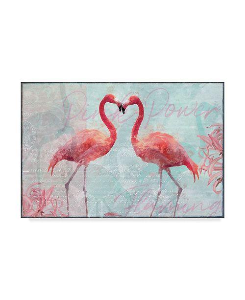 "Trademark Global Cora Niele 'Flamingo Power' Canvas Art - 47"" x 30"" x 2"""