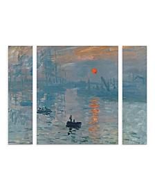 "Claude Monet 'Impression Sunrise' Multi Panel Art Set Large 3 Piece - 44"" x 34"" x 2"""