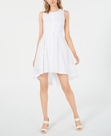 J.O.A. Cotton Pleated High-Low Dress