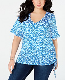 Plus Size Side-Ruched Flutter-Sleeve Top