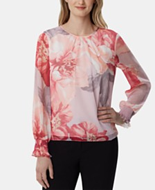 Tahari ASL Floral Textured Top