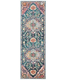 """Crystal Teal and Rose 2'2"""" x 7' Runner Area Rug"""
