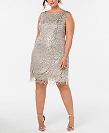 Plus Size Hand-Beaded Fringe Shift Dress