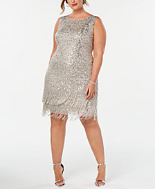 Adrianna Papell Plus Size Hand-Beaded Fringe Shift Dress