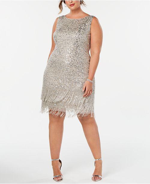 Adrianna Papell Plus Size Hand-Beaded Fringe Shift Dress ...