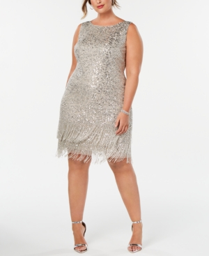 1920s Plus Size Fashion in the Jazz Age Adrianna Papell Plus Size Hand-Beaded Fringe Shift Dress $208.99 AT vintagedancer.com