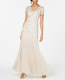 Beaded Short-Sleeve Gown