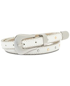 I.N.C. Shot Bead and Studded Faux Leather Belt, Created for Macy's