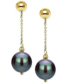 Cultured Tahitian Pearl (8-10mm) Drop Earrings in 14k Gold