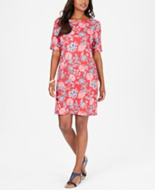 Karen Scott Printed Boat-Neck Dress, Created for Macy's