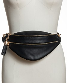 I.N.C. Saffiano Faux Leather Belt Bag, Created for Macy's