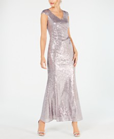 Adrianna Papell Petite Cap-Sleeve Allover-Sequin Gown