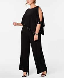 Adrianna Papell Plus Size Embellished Cold-Shoulder Jumpsuit
