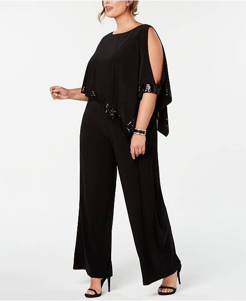 96de765111a ... Adrianna Papell Plus Size Embellished Cold-Shoulder Jumpsuit ...
