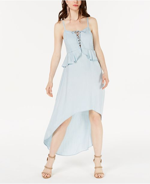 GUESS Chambray High-Low A-Line Dress