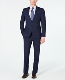 Van Heusen Men's Slim-Fit Flex Stretch Wrinkle-Resistant Dark Blue Pindot Suit