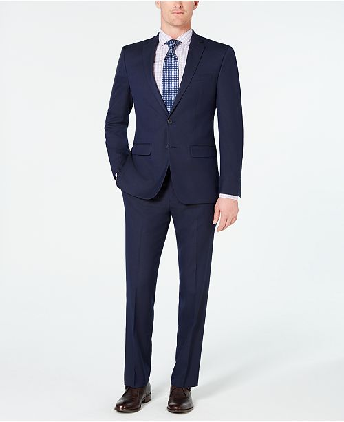cec970e30b34 ... Pindot Suit; Van Heusen Men's Slim-Fit Flex Stretch Wrinkle-Resistant  Dark Blue Pindot ...