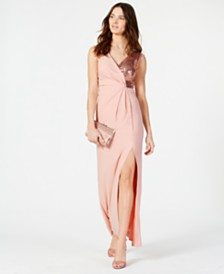 Vince Camuto Sequined Surplice Gown