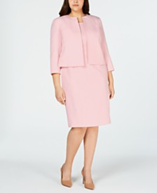 Le Suit Plus Size Open-Jacket Dress Suit