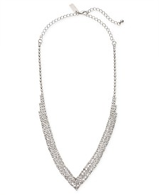 """I.N.C. Silver-Tone Crystal Pavé Choker Necklace, 12"""" + 3"""" extender, Created for Macy's"""