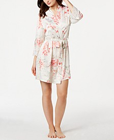 Caterina Floral-Print Satin Wrap Robe