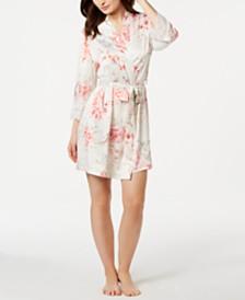 Linea Donatella Caterina Floral-Print Satin Wrap Robe