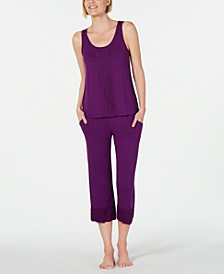 Lace-Trim Pajama Top & Bottoms Set, Created for Macy's