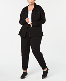 Ideology Plus Size Lace Up Hoodie & Joggers, Created for Macy's