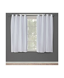 "Catarina Layered Solid Blackout and Sheer Grommet Top Curtain Panel Pair, 52"" x 63"""