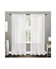 Exclusive Home Tassels Embellished Sheer Rod Pocket Curtain Panel Pair