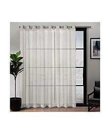 Belgian Patio Textured Sheer Grommet Top Single Curtain Panel
