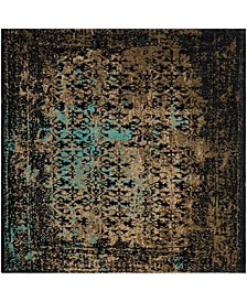 Classic Vintage Black and Olive 6' x 6' Square Area Rug