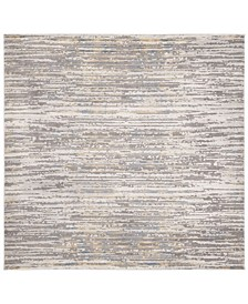 "Meadow Gray and Gold 6'7"" x 6'7"" Square Area Rug"