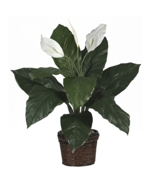 Nearly Natural Spathiphyllum w/ Wicker Silk Plant