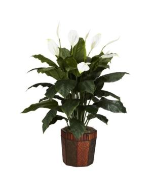 Nearly Natural Spathiphyllum w/ Vase Silk Plant