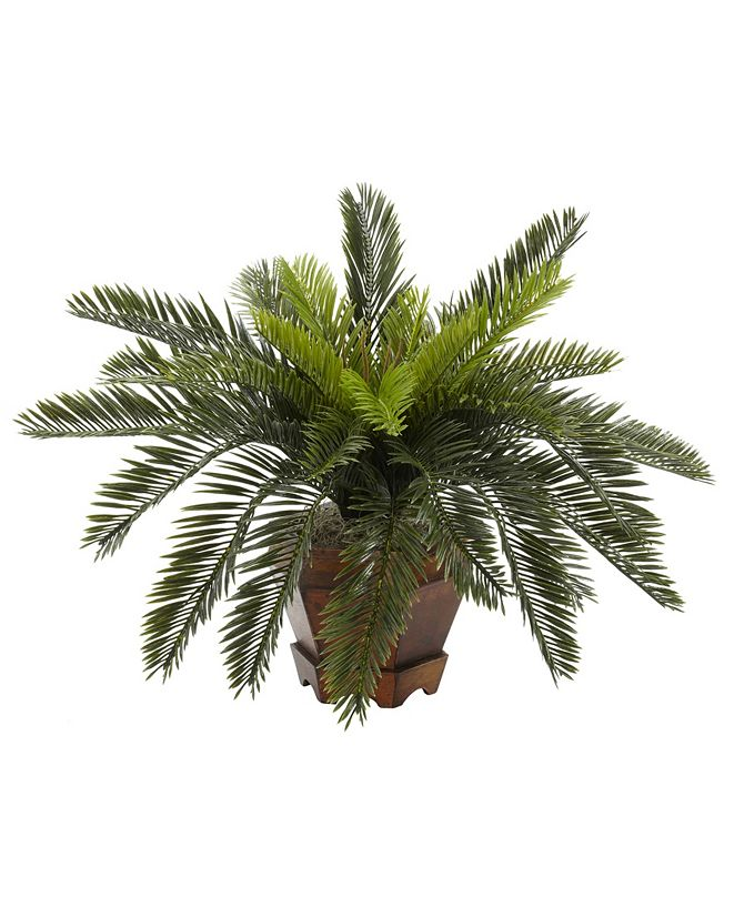 Nearly Natural Cycas w/ Hexagon Vase Silk Plant
