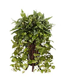 Vining Mixed Greens w/ Decorative Stand Silk Plant